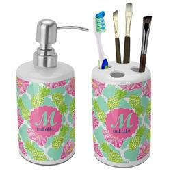 Preppy Hibiscus Bathroom Accessories Set (Ceramic) (Personalized)