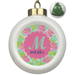 Preppy Hibiscus Ceramic Ball Ornament - Christmas Tree (Personalized)