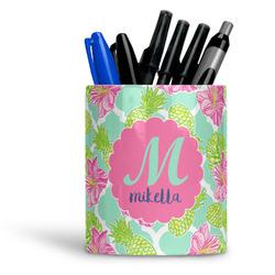 Preppy Hibiscus Ceramic Pen Holder