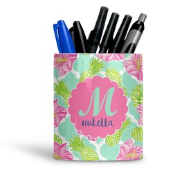 Preppy Hibiscus Ceramic Pen Holder