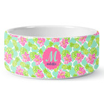 Preppy Hibiscus Ceramic Pet Bowl (Personalized)