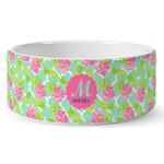 Preppy Hibiscus Ceramic Dog Bowl (Personalized)