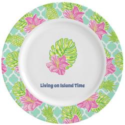 Preppy Hibiscus Ceramic Dinner Plates (Set of 4) (Personalized)
