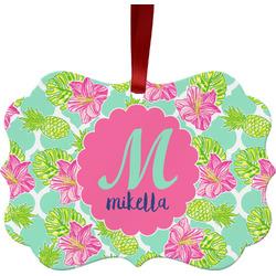 Preppy Hibiscus Ornament (Personalized)