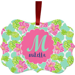 Preppy Hibiscus Ornament (Personalized)
