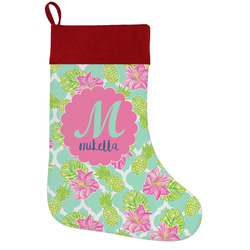 Preppy Hibiscus Holiday Stocking w/ Name and Initial