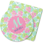 Preppy Hibiscus Rubber Backed Coaster (Personalized)