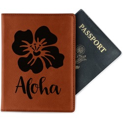 Preppy Hibiscus Leatherette Passport Holder (Personalized)