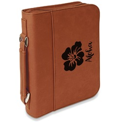 Preppy Hibiscus Leatherette Book / Bible Cover with Handle & Zipper (Personalized)