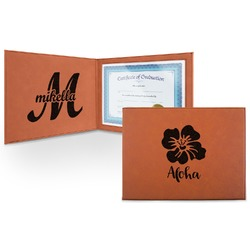 Preppy Hibiscus Leatherette Certificate Holder (Personalized)