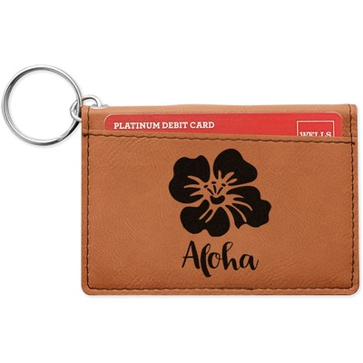 Preppy Hibiscus Leatherette Keychain ID Holder (Personalized)