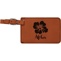Preppy Hibiscus Leatherette Luggage Tag (Personalized)