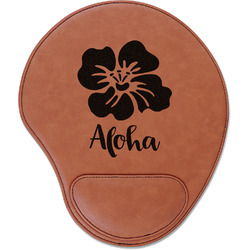 Preppy Hibiscus Leatherette Mouse Pad with Wrist Support (Personalized)