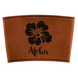 Preppy Hibiscus Leatherette Cup Sleeve (Personalized)