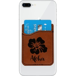 Preppy Hibiscus Leatherette Phone Wallet (Personalized)