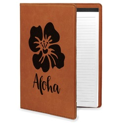 Preppy Hibiscus Leatherette Portfolio with Notepad (Personalized)