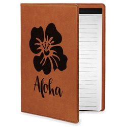 Preppy Hibiscus Leatherette Portfolio with Notepad - Small - Single Sided (Personalized)