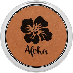 Preppy Hibiscus Leatherette Round Coaster w/ Silver Edge - Single or Set (Personalized)