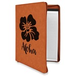 Preppy Hibiscus Leatherette Zipper Portfolio with Notepad (Personalized)