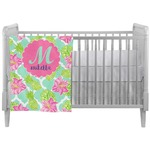 Preppy Hibiscus Crib Comforter / Quilt (Personalized)
