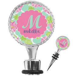 Preppy Hibiscus Wine Bottle Stopper (Personalized)