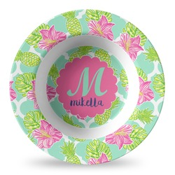 Preppy Hibiscus Plastic Bowl - Microwave Safe - Composite Polymer (Personalized)