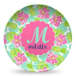 Preppy Hibiscus Microwave Safe Plastic Plate - Composite Polymer (Personalized)