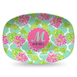 Preppy Hibiscus Plastic Platter - Microwave & Oven Safe Composite Polymer (Personalized)