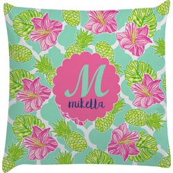 Preppy Hibiscus Decorative Pillow Case (Personalized)