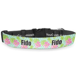 "Preppy Hibiscus Deluxe Dog Collar - Large (13"" to 21"") (Personalized)"