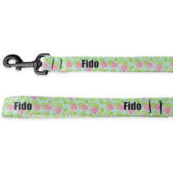 Preppy Hibiscus Deluxe Dog Leash (Personalized)