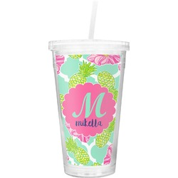 Preppy Hibiscus Double Wall Tumbler with Straw (Personalized)