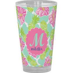 Preppy Hibiscus Drinking / Pint Glass (Personalized)