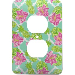 Preppy Hibiscus Electric Outlet Plate (Personalized)