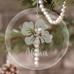 Preppy Hibiscus Engraved Glass Ornament (Personalized)