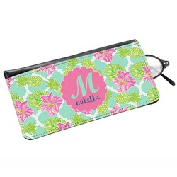 Preppy Hibiscus Genuine Leather Eyeglass Case (Personalized)