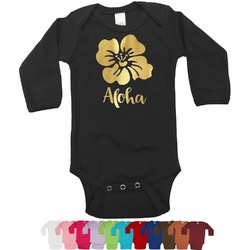 Preppy Hibiscus Foil Bodysuit - Long Sleeves - 6-12 months - Gold, Silver or Rose Gold (Personalized)