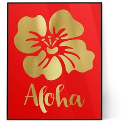 Preppy Hibiscus 8x10 Foil Wall Art - Red (Personalized)