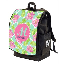 Preppy Hibiscus Backpack w/ Front Flap  (Personalized)