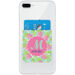 Preppy Hibiscus Genuine Leather Adhesive Phone Wallet (Personalized)