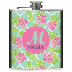Preppy Hibiscus Genuine Leather Flask (Personalized)