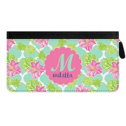 Preppy Hibiscus Genuine Leather Ladies Zippered Wallet (Personalized)
