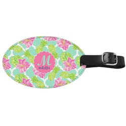 Preppy Hibiscus Genuine Leather Oval Luggage Tag (Personalized)