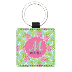 Preppy Hibiscus Genuine Leather Rectangular Keychain (Personalized)