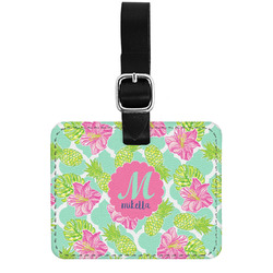 Preppy Hibiscus Genuine Leather Luggage Tag w/ Name and Initial