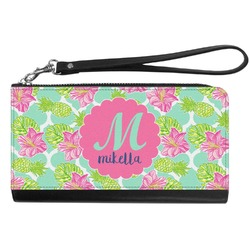 Preppy Hibiscus Genuine Leather Smartphone Wrist Wallet (Personalized)