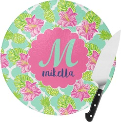 Preppy Hibiscus Round Glass Cutting Board (Personalized)