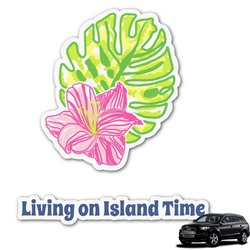 Preppy Hibiscus Graphic Car Decal (Personalized)