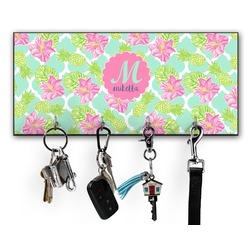 Preppy Hibiscus Key Hanger w/ 4 Hooks (Personalized)
