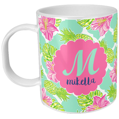 Preppy Hibiscus Plastic Kids Mug (Personalized)